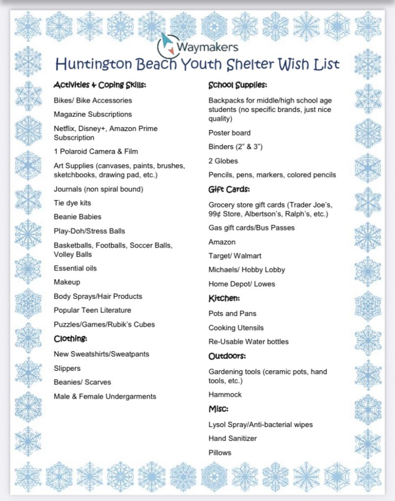 HB Youth Shelter Wish List